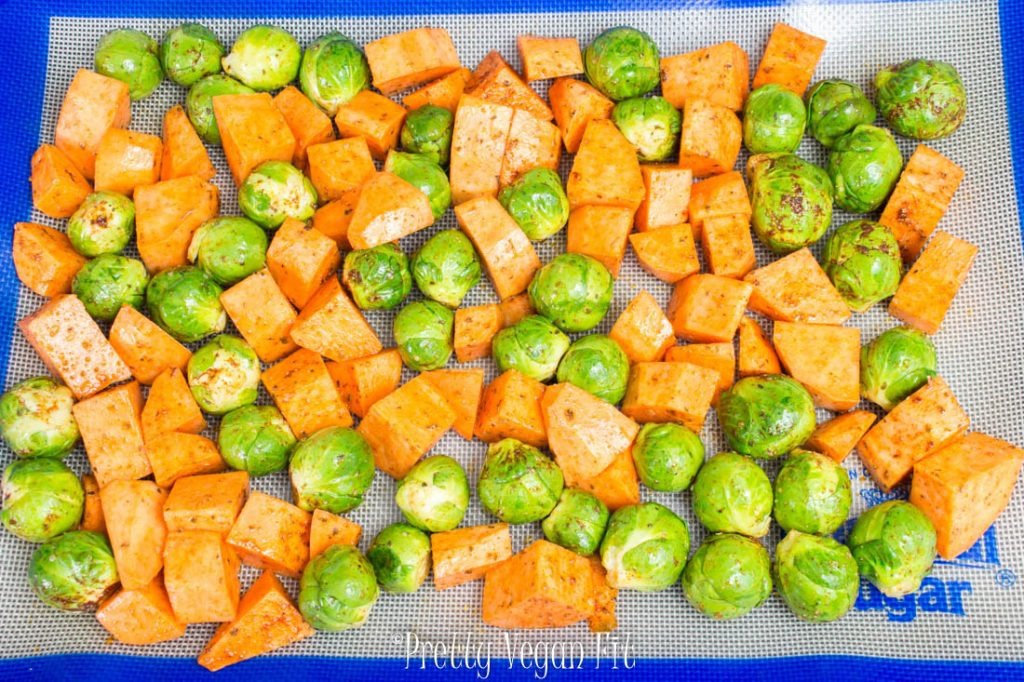 Vegan Roasted Brussels Sprouts with Sweet Potatoes - easy and delicious meal.